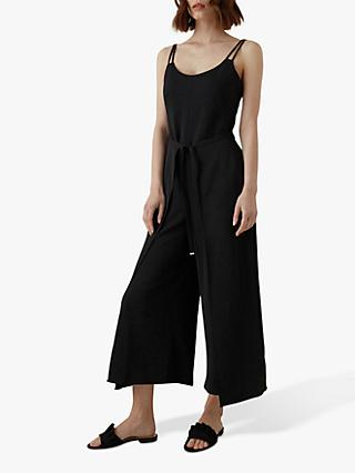 Karen Millen Wide Leg Cropped Jumpsuit, Black