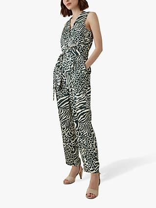 04ea7359a0 Karen Millen Contrast Animal Print Jumpsuit, Green/Multi