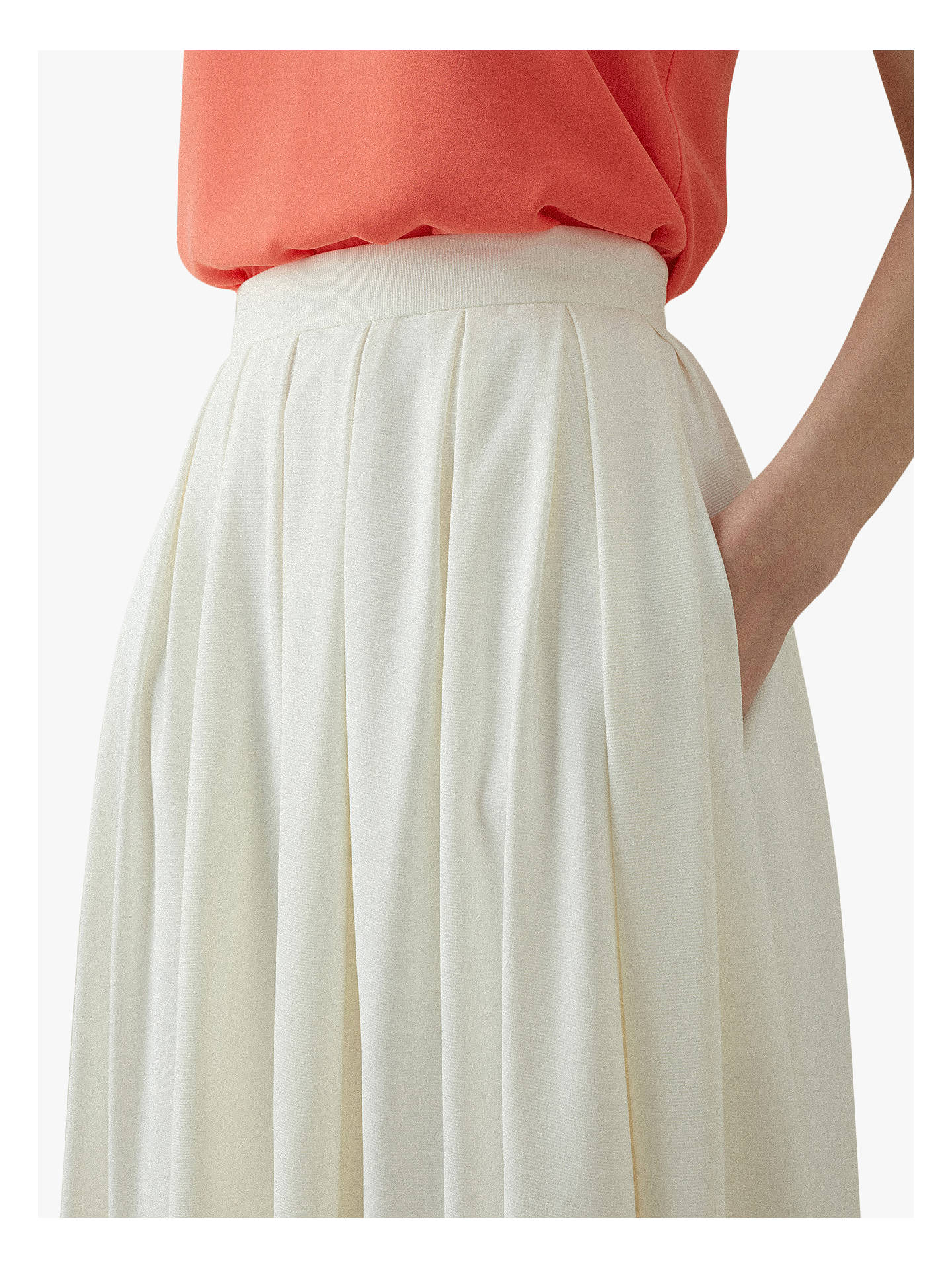 bd4607903c6f ... Buy Karen Millen Softly Pleated Midi Skirt, Ivory, 6 Online at  johnlewis.com