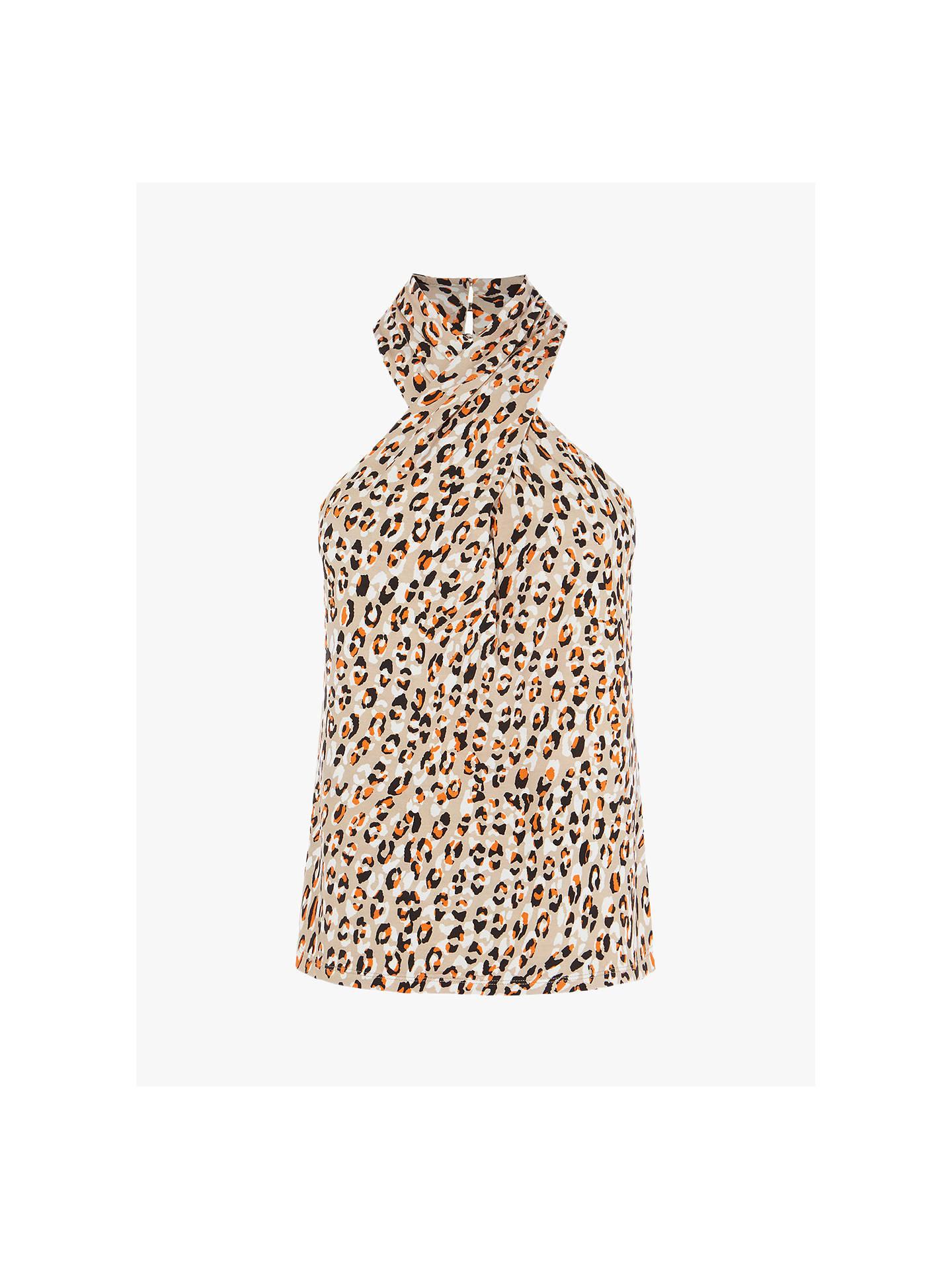 418107d0767 Buy Karen Millen Leopard Print Halterneck Top, Multi, 8 Online at  johnlewis.com