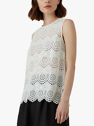 Karen Millen Sleeveless Cotton Broderie Top, White