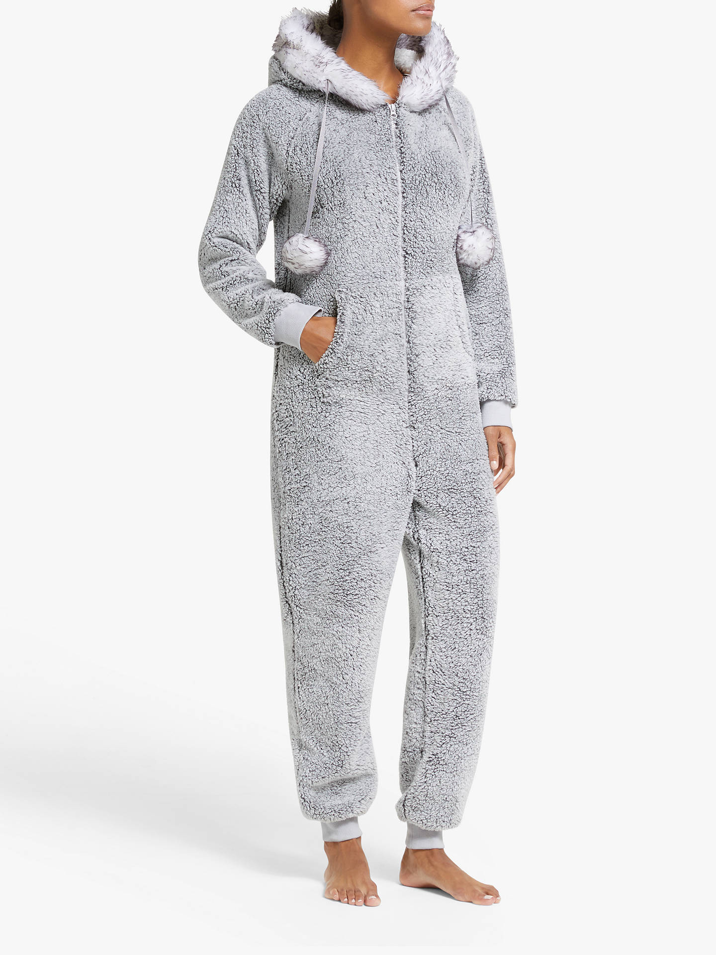 John Lewis & Partners Pom Pom Fleece Onesie, Grey by John Lewis & Partners
