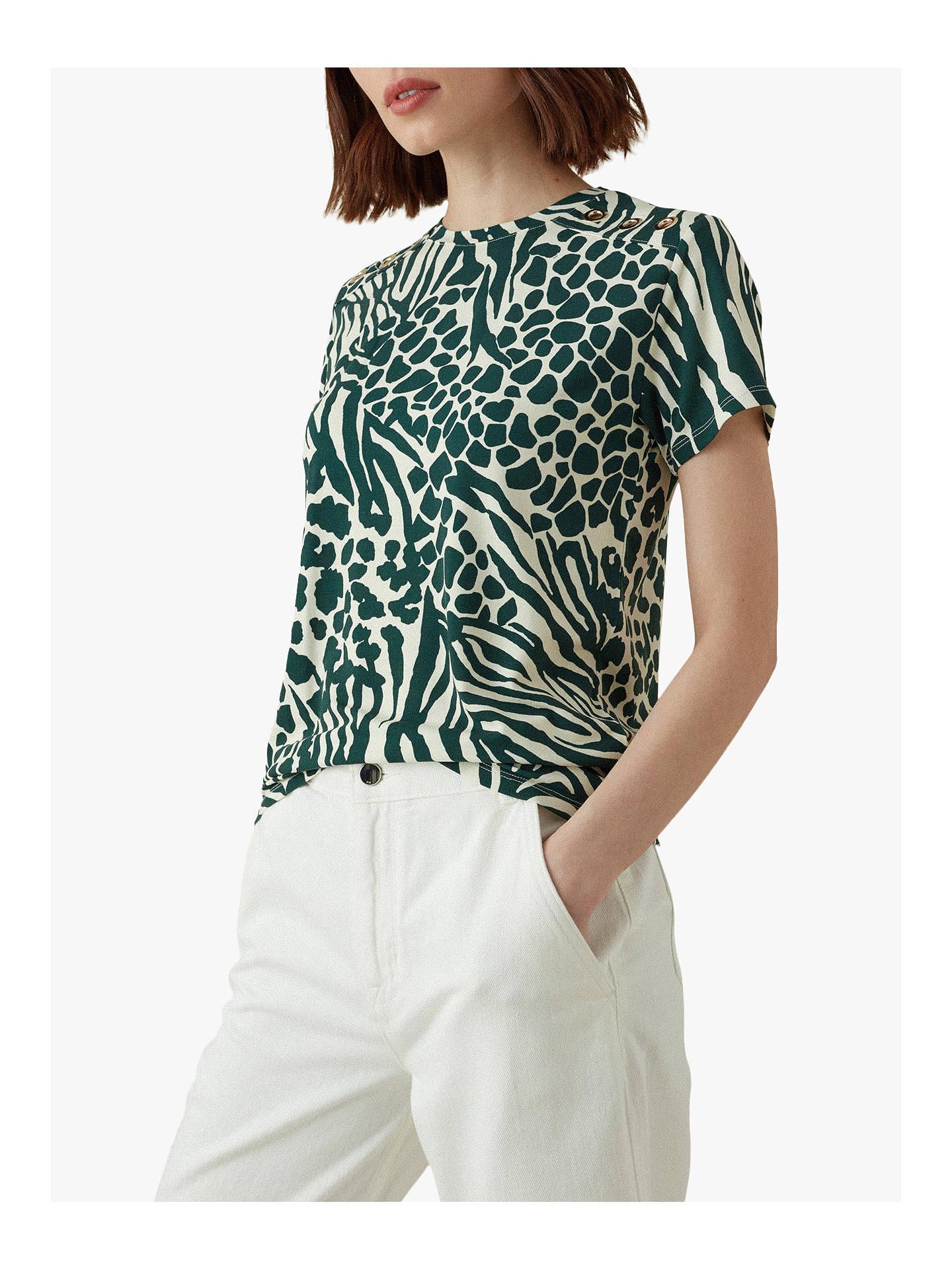 a0192686636 Karen Millen Animal Print T-Shirt, Green/Multi at John Lewis & Partners