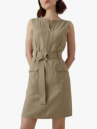 Karen Millen Sleeveless Utility Dress, Stone
