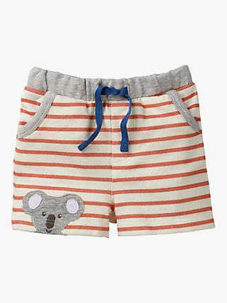 Mini Boden Baby Koala Appliqué Stripe Shorts, White/Beam Red