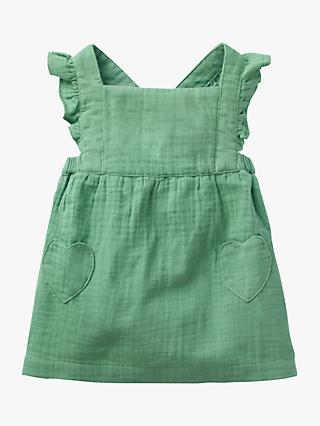 Mini Boden Baby Ruffle Pinafore Dress, Patina Green