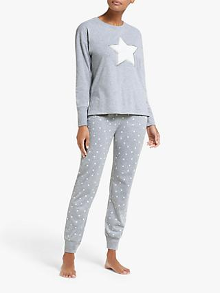 John Lewis & Partners Furry Star Pyjama Gift Set, Grey