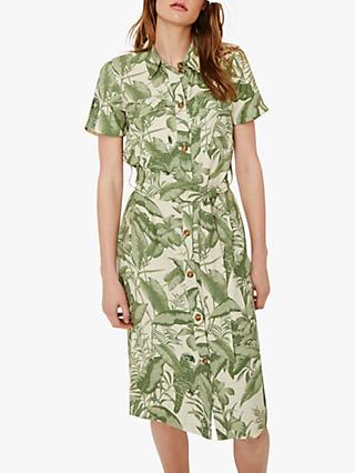 Warehouse Tropical Parrot Shirt Dress, Multi