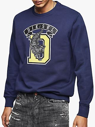 Diesel Tiger Logo Sweatshirt, Blue 8AT