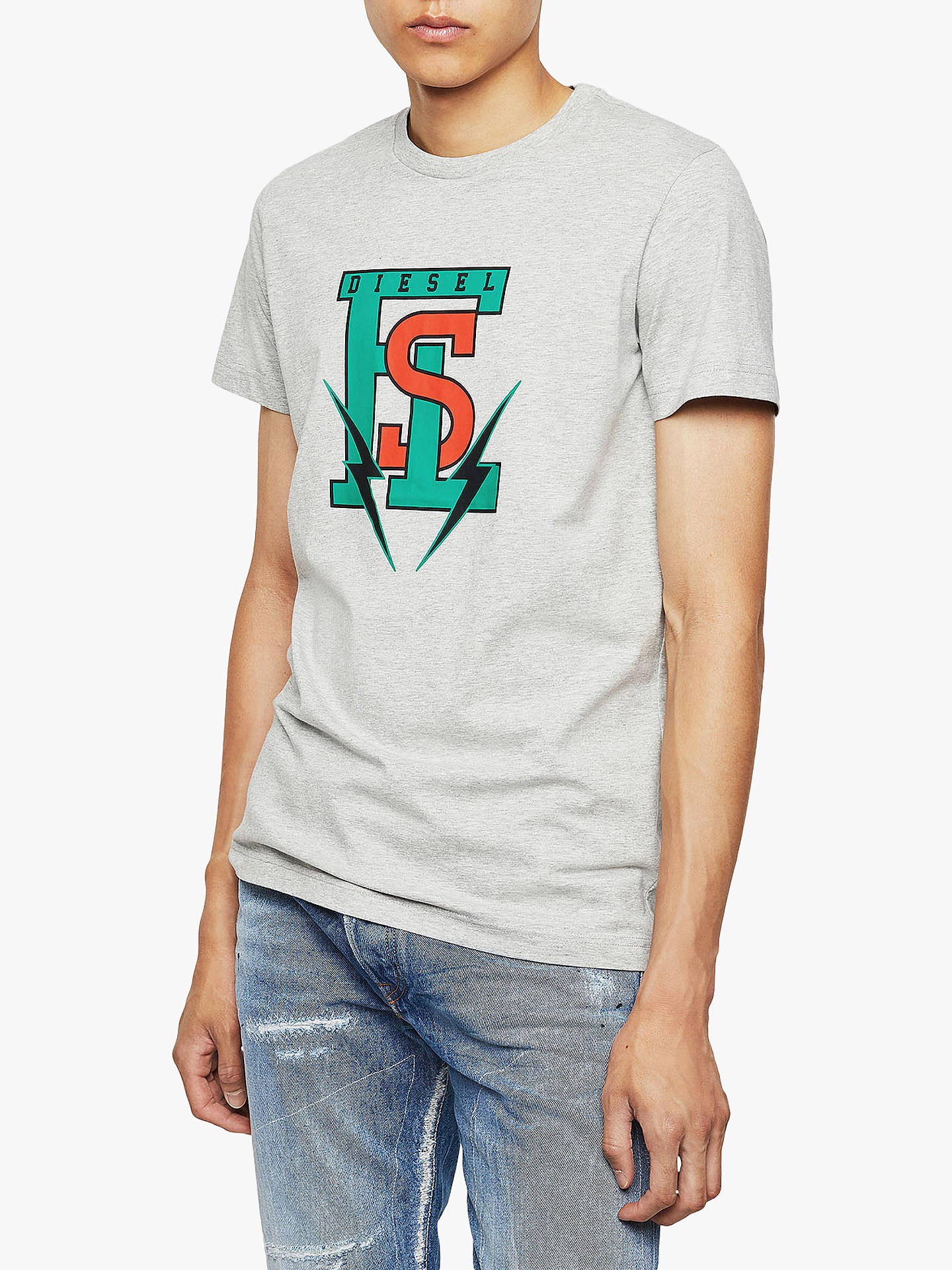 Buy Diesel T-Diego Division Industry Logo T-Shirt, Grey, L Online at johnlewis.com