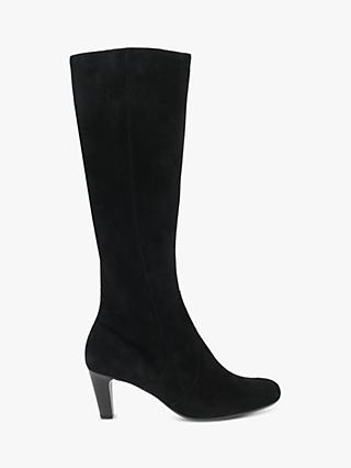 Gabor Maybe Slim Fit Suede Knee High Boots, Black