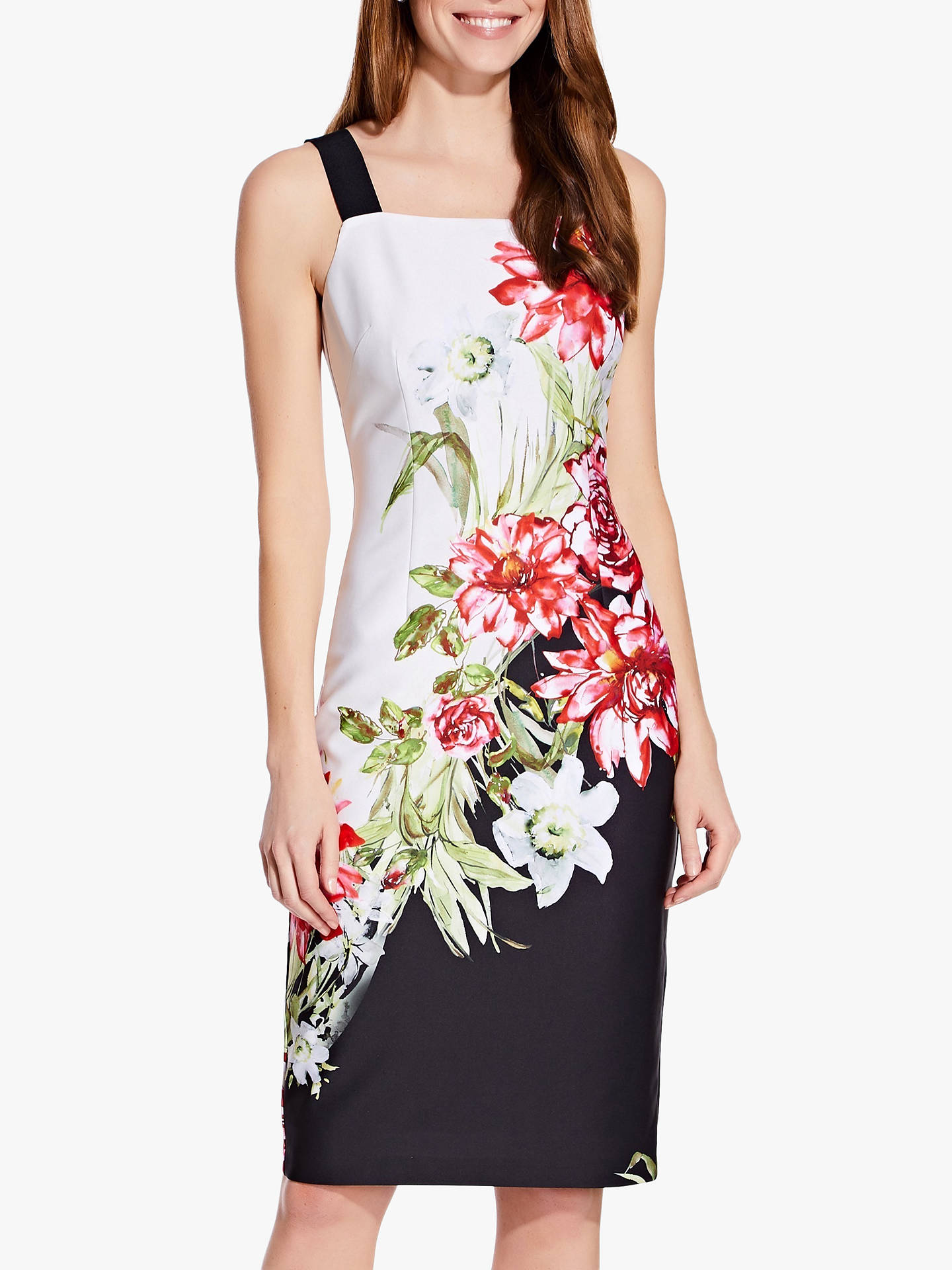 b4e64b0c102c Buy Adrianna Papell Scuba Floral Print Sheath Dress, Multi, 16 Online at  johnlewis.