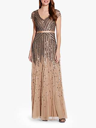 Adrianna Papell Embellished Maxi Dress, Nude