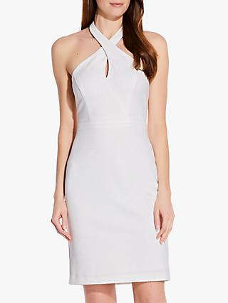 Adrianna Papell Ottoman Sheath Halterneck Dress, Ivory