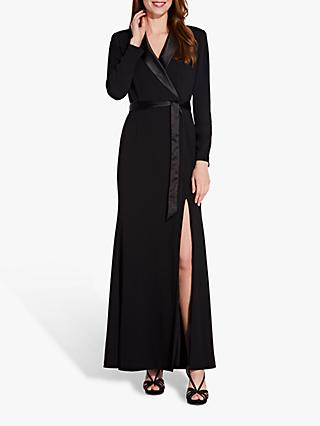 Adrianna Papell Tuxedo Mermaid Crepe Maxi Dress, Black