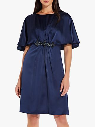 Adrianna Papell Satin Capelet Dress, Midnight