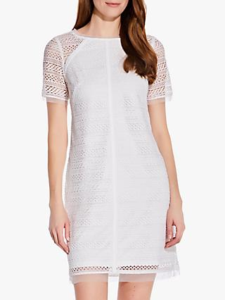 Adrianna Papell Lace Shift Mini Dress, Ivory