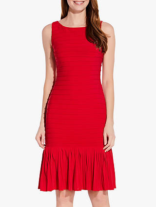 Buy Adrianna Papell Flounce Hem Pintuck Dress, Fire Red, 6 Online at johnlewis.com