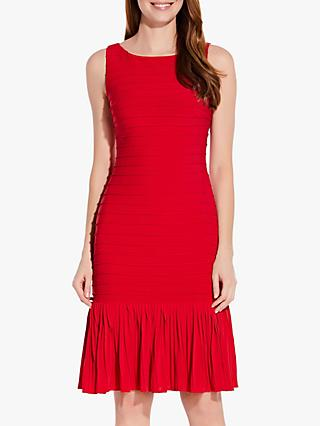 Adrianna Papell Flounce Hem Pintuck Dress