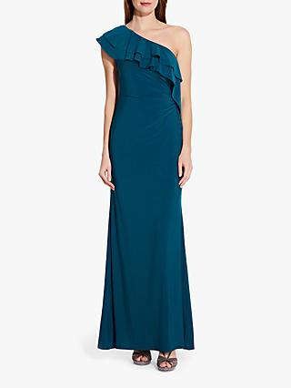 Adrianna Papell Ruffle Jersey Dress, Teal Crush