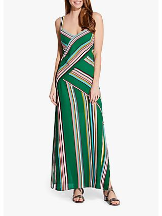 Adrianna Papell Stripe Slip Maxi Dress, Green/Multi