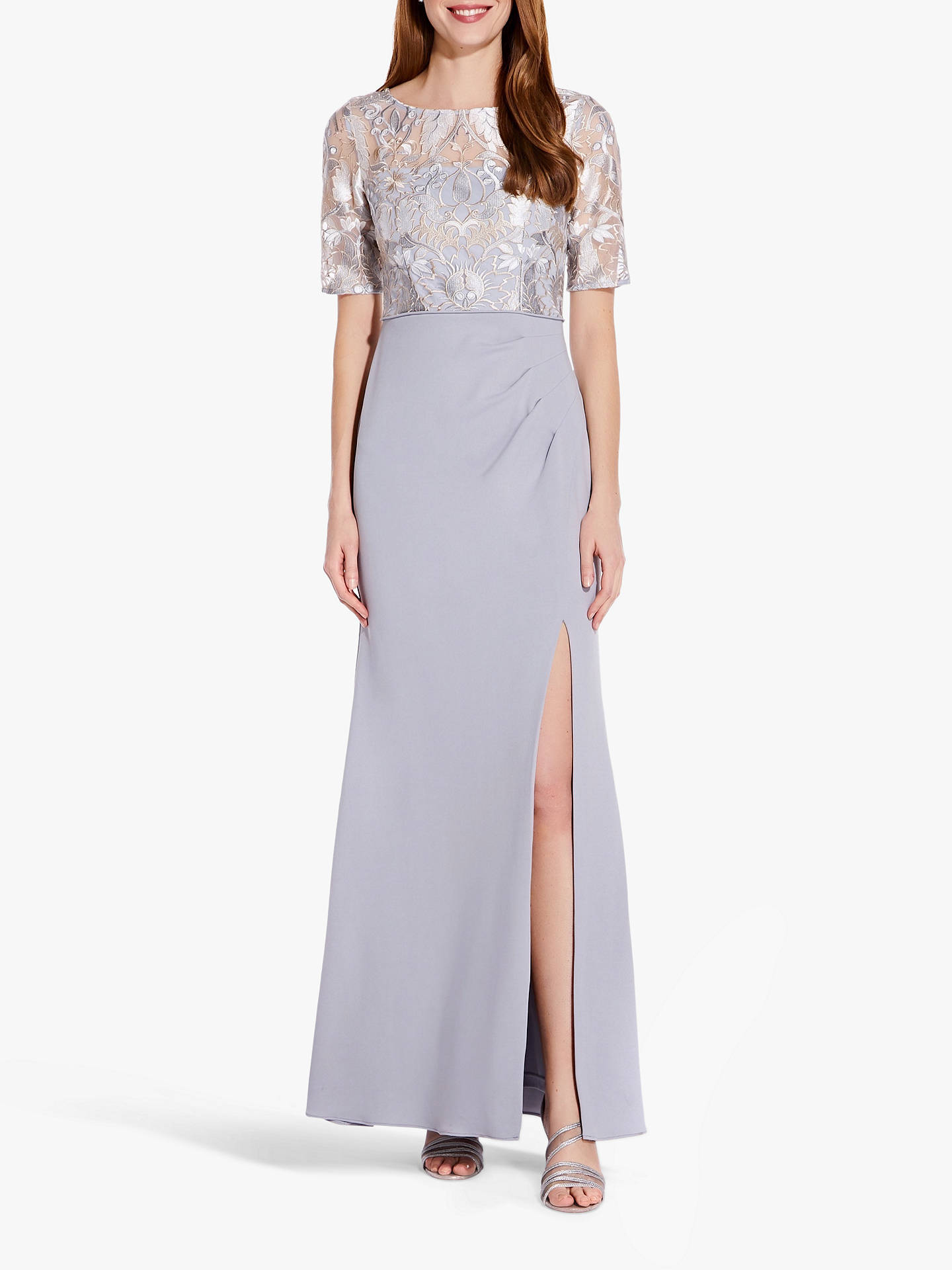 Buy Adrianna Papell Embroidered Side Split Long Gown, Silver, 8 Online at johnlewis.com