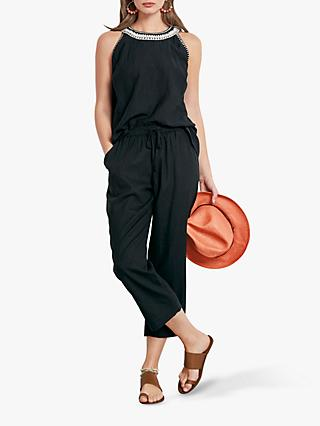 hush Irina Linen Mix Trousers, Black