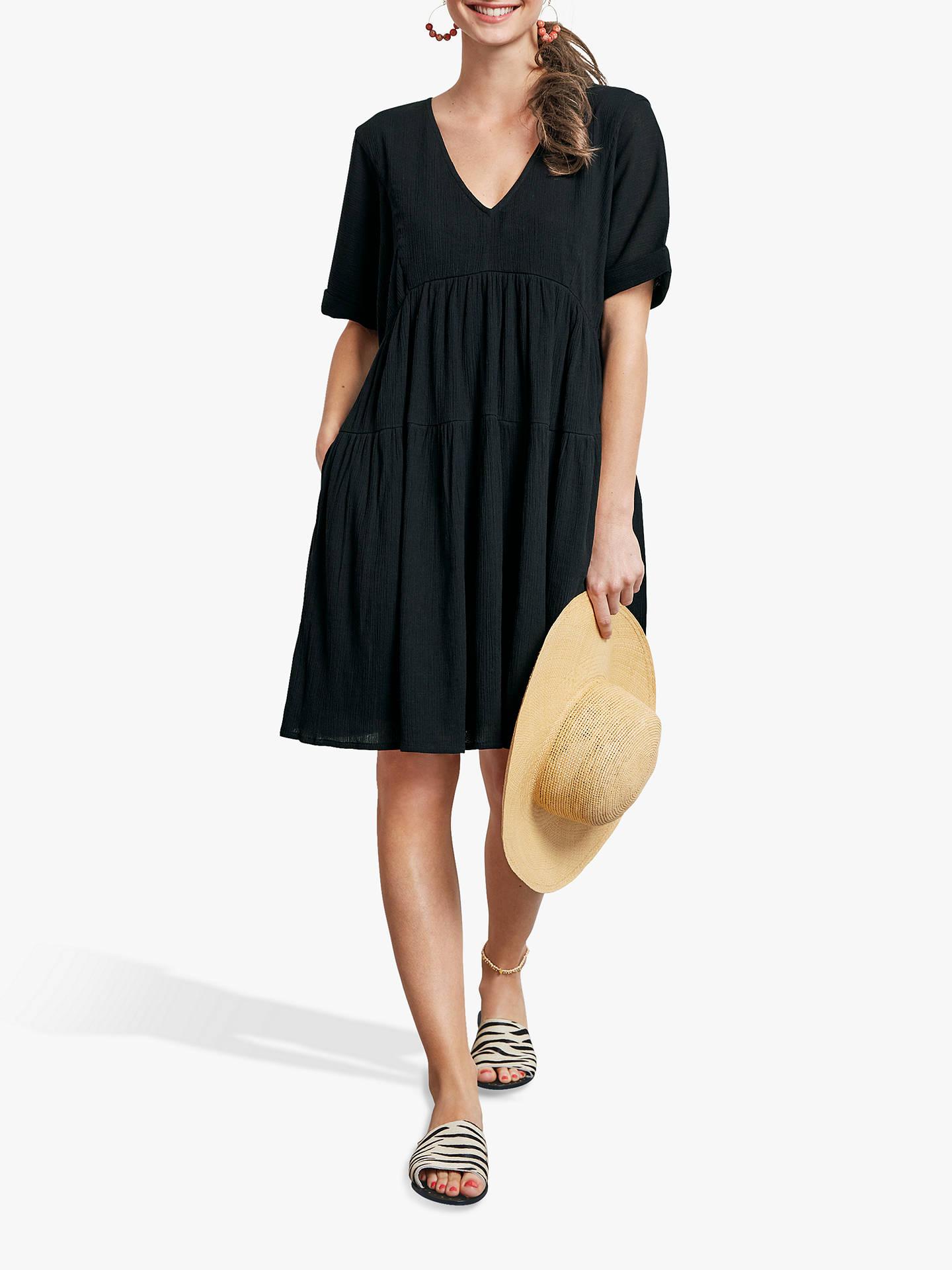 a0e15f61de97 Buy hush Kyra Cotton Dress, Black, 6 Online at johnlewis.com ...