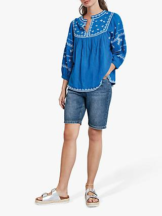 hush Madeline Embroidered Top, Skydiver Blue/Ecru