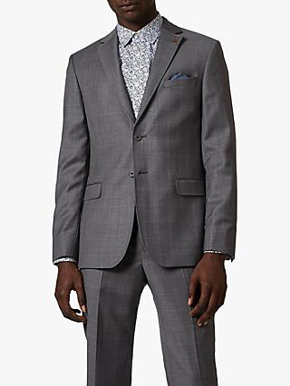 Ted Baker Board Check Wool Tailored Suit Jacket, Grey