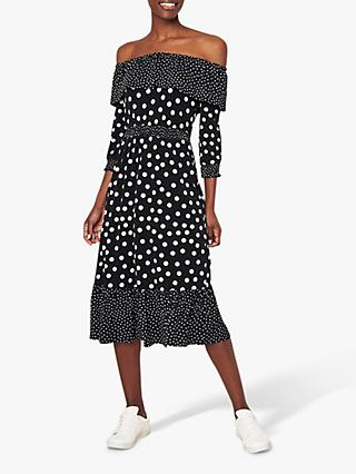 ab38beaa5543 Oasis Spot Print Bardot Midi Dress, Black/White