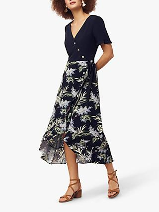 928560bab64d Oasis Jasmine Leaf Print Midi Dress, Multi/Navy