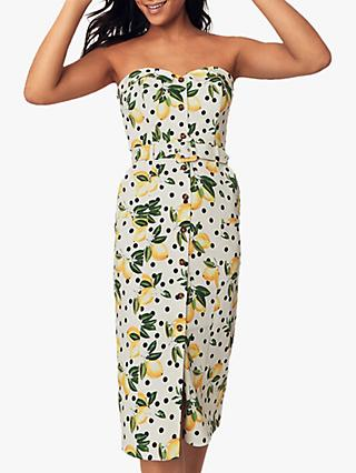 Oasis Bandeau Lemon Dress, Multi Natural