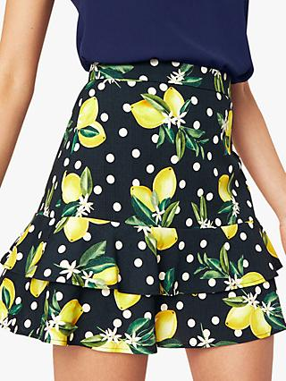 Oasis Lemon Print Flippy Skirt, Multi Black