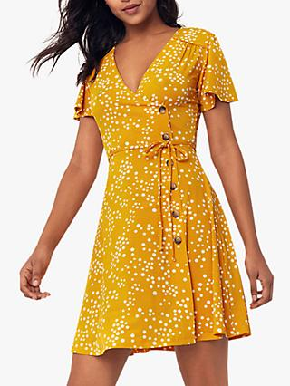 Oasis Spot Wrap Dress, Yellow