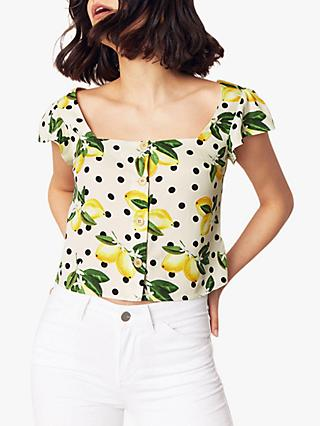 Oasis Lemon Print Top, Multi