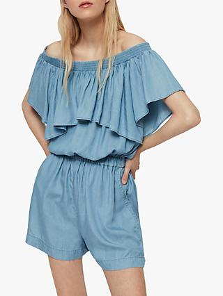 AllSaints Sacha Playsuit, Bleach Indigo