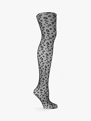 John Lewis & Partners Leopard Print Sheer Tights, Black