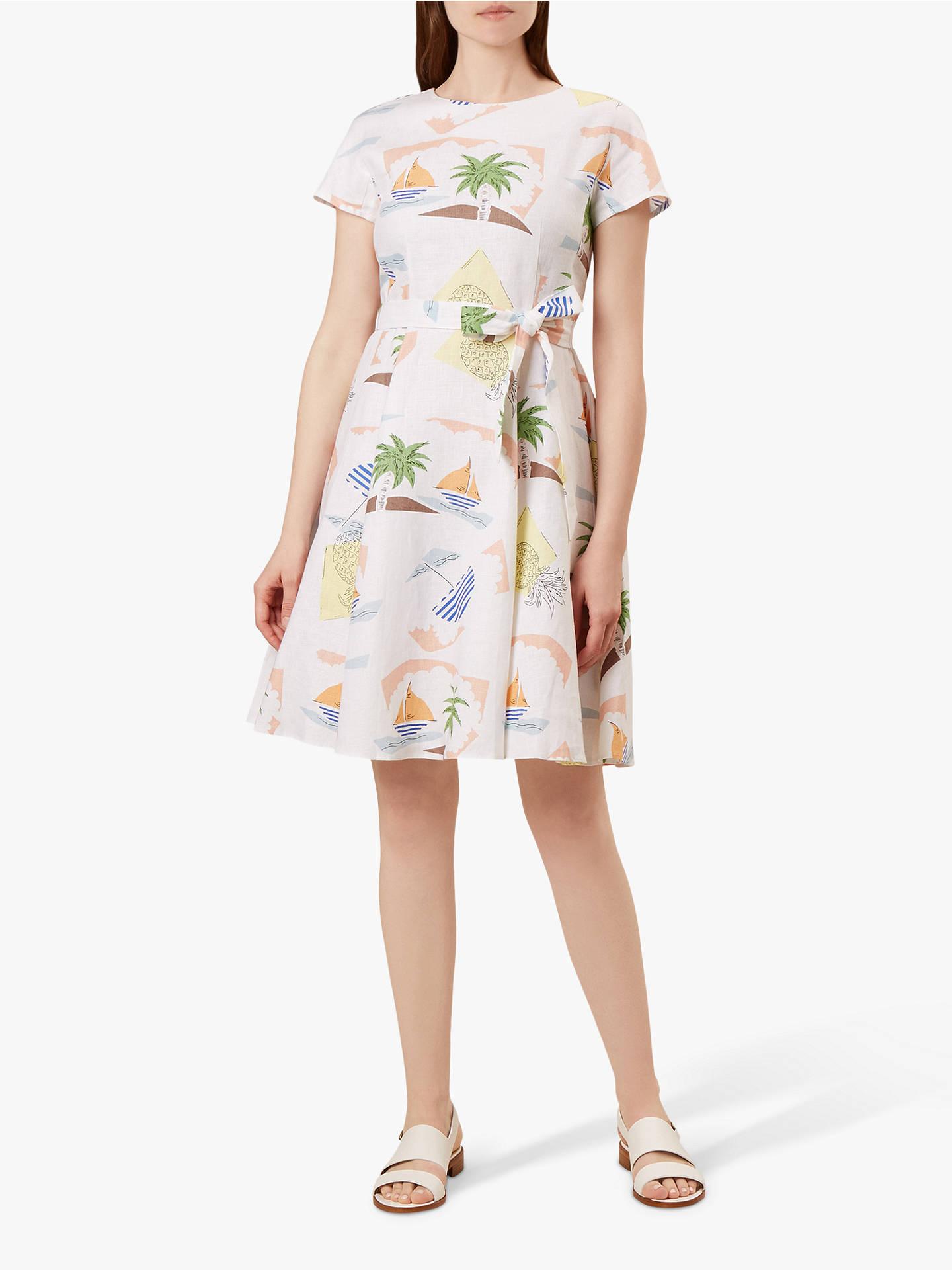 4caaff81733c7 Hobbs Sorrento Beach Print Dress, White/Multi