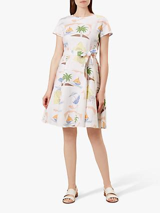 Hobbs Sorrento Beach Print Dress, White/Multi