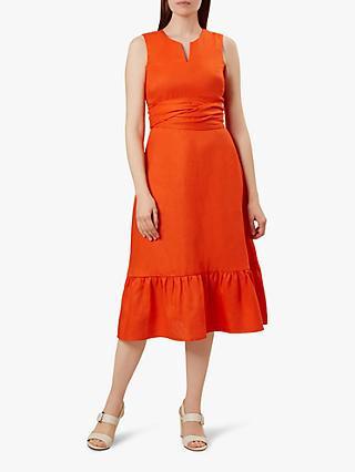 Hobbs Rita Linen Dress, Mango Orange