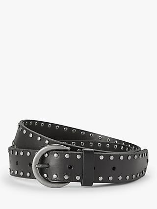 John Lewis & Partners Ella Studded Leather Belt, Black