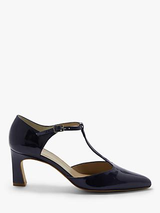 John Lewis & Partners Beja Leather Flared Heel Court Shoes, Dark Navy
