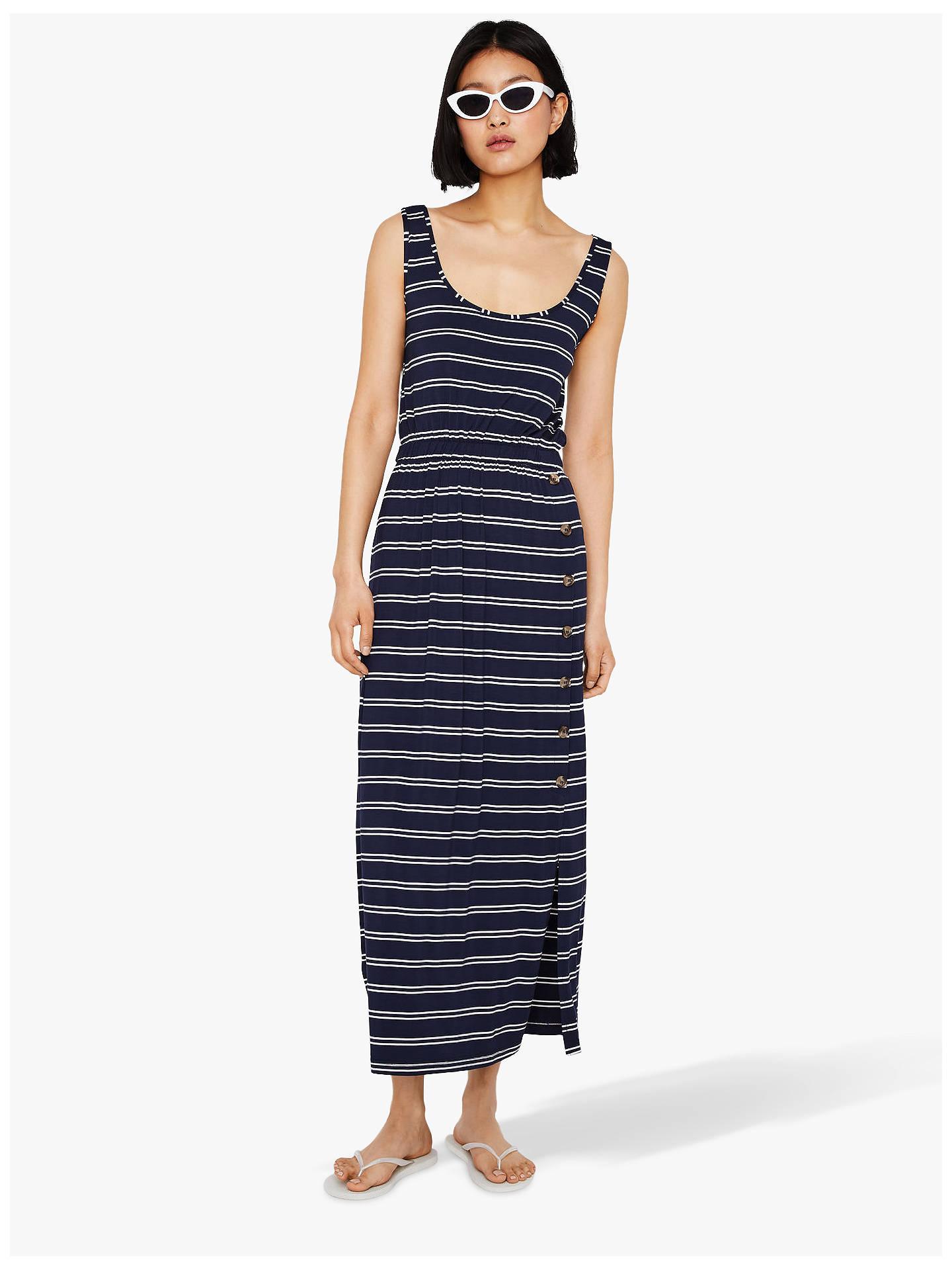 009272375b00e Warehouse Stripe Side Button Maxi Dress, Navy at John Lewis & Partners