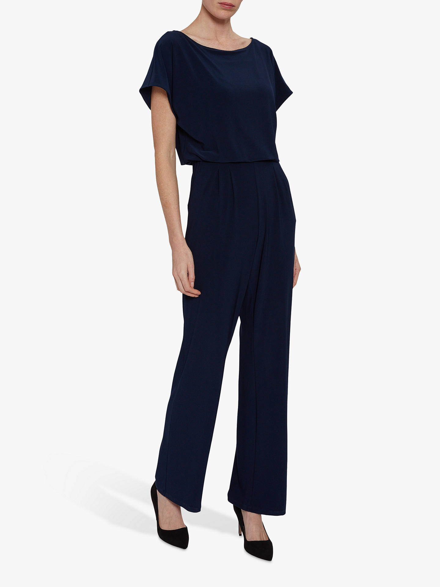 Buy Gina Bacconi Parker Wide Leg Jumpsuit, Spring Navy, 20 Online at johnlewis.com