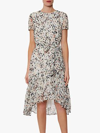 Gina Bacconi Lanaya Abstract Print Chiffon Midi Dress, Coral/Multi