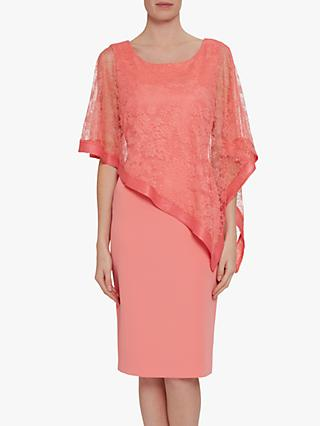 Gina Bacconi Carlotta Lace Overlay Dress, Dahlia Orange