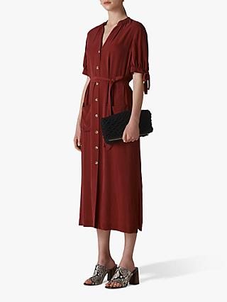 Whistles Dana Shirt Dress, Burgundy