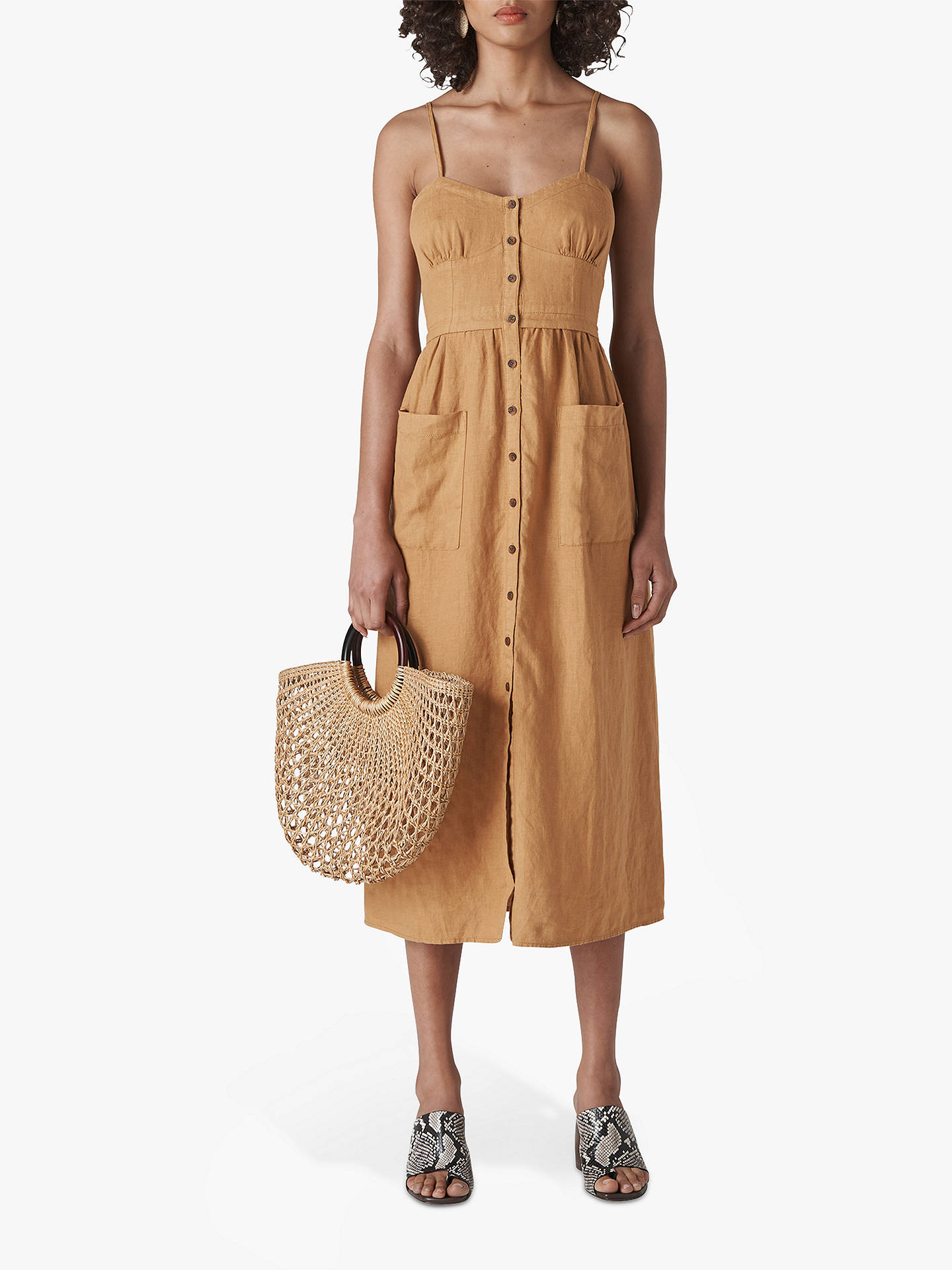 Buy Whistles Milana Tie Back Dress, Toffee, 6 Online at johnlewis.com