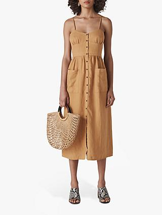Whistles Milana Tie Back Dress, Toffee